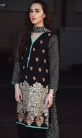 Exclusively embroidered shirt with printed chiffon dupatta and a plain dyed Trouser.