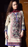 Suzani embroidery shirt with printed chiffon dupatta and a plain dyed trouser.
