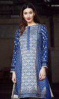 Ethnic blue paneled unstitched shirt with beautifully embroidered jaal and motives in ivory teamed with a plain blue trouser fabric.