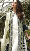 3-piece unstitched lawn outfit.organic green and black contrast embroided front on base white fabric .paired with plain cotton trouser and digital print back,sleeve and chiffon dupatta