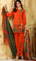 Material: Dupatta Chiffon, Shirt Lawn, Trouser Cotton
