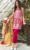 Full embroided lawn unstitched outfit, front paired with embroided organza patch.comes with plain back and trouser and digital print chiffon duppata