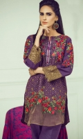 Purple colored fully embroidered unstitched khddar dress adorned with print wool shawl and dyed trouser an ideal ensemble for ladiees to feaunt the graceful hues of winter.
