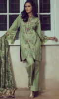 Pistactio green fully embroidered shirt with intricate embroidery details on front with embroidered border on organza to complete the look for sleeves paired with wool shawl and dyed trouser.