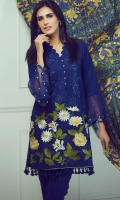 Blue embroidered shirt with stricking color border at hem paired with wool shawl and dyed trouser.