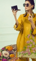 Mustard yellow offset shirt with floral embroidered front paired with fusion of geometrical and floral pattern wool shawl and dyed trouser