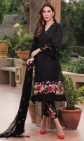 Embroidered lawn shirt fused with schiffli embroidery and beautiful contrast embroidery patch, paired with embroidered chiffon dupatta and embroidered organza motif for trouser.