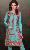 2 Piece linen suit front Embroidered with plain trouser