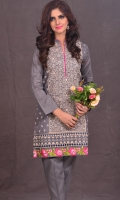 2 Piece linen suit front Embroidered with plain trouser -