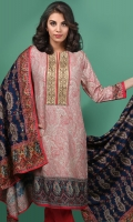 3 Piece Linen suit Embroidered neck with plain Trouser and Linen Dupatta -
