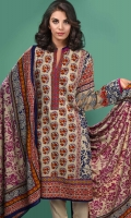 3 Piece Printed linen suit with plain trouser and printed linen dupatta