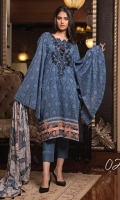 3-piece unstitched suit with front fully embroided, paired with plain dyed cotton trouser and digital printed chiffon dupatta.