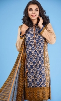 3 Piece Unstitched Suit: Shirt Printed Cambric Plain Cambric Trouser Printed Chiffon Dupatta.