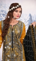 3 Piece Suit: Fully Embroidered Front, Printed Back and Sleeves, Printed Chiffon Dupatta and Plain Cambric Trouser.