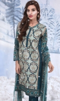 3 Piece Suit: Heavily Embroidered Front, Printed Back and Sleeves, Printed Chiffon Dupatta and Plain Cambric Trouser.