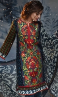 3 Piece Suit: Embroidered Panel, Printed Back and Sleeves, Printed Chiffon Dupatta and Plain Cambric Trouser.