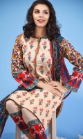 3 Piece Unstitched Suit: Shirt Printed Cambric with Embroidered Plain Cambric Trouser Printed Chiffon Dupatta.