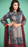 3 Piece Unstitched Suit: Shirt Printed Cambric Plain Cambric Trouser Printed Lawn Dupatta.