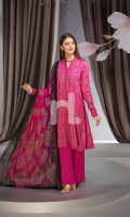 - Printed Lawn Shirt: 3 Mtr  - Dyed Cambric Trouser: 2.5 Mtr  - Printed Georgette Dupatta with Stones: 2.5 Mtr