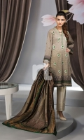 - Digital Printed Lawn Shirt: 3 Mtr  - Dyed Cambric Trouser: 2.5 Mtr  - Printed Banarsi Silk Dupatta: 2.5 Mtr  - Embroidered Spray + Border