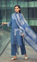 - Printed Lawn Shirt: 3 Mtr  - Dyed Cambric Trouser: 2.5 Mtr  - Printed Viscose Net Dupatta: 2.5 Mtr  - Embroidered Center Panel