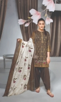- Gold Printed Lawn Shirt: 3 Mtr  - Dyed Cambric Trouser: 2.5 Mtr  - Printed Voil Dupatta: 2.5 Mtr  - Embroidered Border