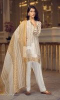 - Gold Printed Lawn Shirt: 3 Mtr  - Dyed Cambric Trouser: 2.5 Mtr  - Printed Viscose Net Dupatta: 2.5 Mtr