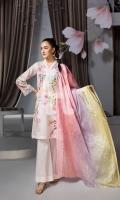 - Digital Printed Lawn Shirt: 3 Mtr  - Dyed Cambric Trouser: 2.5 Mtr  - Printed Voil Dupatta: 2.5 Mtr