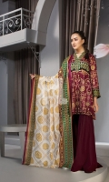 - Gold Printed Lawn Shirt: 3 Mtr  - Dyed Cambric Trouser: 2.5 Mtr  - Printed Voil Dupatta: 2.5 Mtr