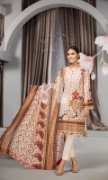 - Digital Printed Lawn Shirt: 3 Mtr  - Dyed Cambric Trouser: 2.5 Mtr  - Printed Silk Chiffon Dupatta: 2.5 Mtr  - Embroidered Front + Border + Sleeves