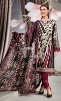 - Digital Printed Lawn Shirt: 3 Mtr  - Dyed Cambric Trouser: 2.5 Mtr  - Printed Silk Chiffon Dupatta: 2.5 Mtr  - Embroidered Sleeves + Front + Border