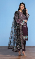 - Digital Printed Lawn Shirt: 3 Mtr  - Dyed Cambric Trouser: 2.5 Mtr      - Embroidered Net Dupatta: 2.5 Mtr