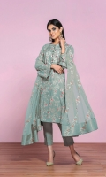 - Printed Lawn Shirt: 3.5 Mtr  - Dyed Cambric Trouser: 2.5 Mtr      - Embroidered Net Dupatta: 2.5 Mtr