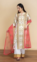 - Gold Printed Lawn Shirt: 3.51 Mtr  - Dyed Cambric Trouser: 2.5 Mtr      - Embroidered Net Dupatta: 2.38 Mtr
