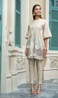 Beige Printed Embroidered Stitched Slub Lawn Shirt - 1PC