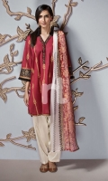 Maroon Printed Embroidered Stitched Slub Lawn Shirt & Printed Dupatta - 2PC