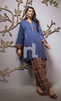 Blue Printed Stitched Lawn Shirt & Printed Shalwar - 2PC