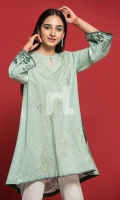 Green Digital Printed Embroidered Stitched Lawn Shirt - 1PC