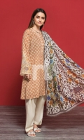 Beige Printed Embroidered Stitched Lawn Shirt & Voil Dupatta - 2PC