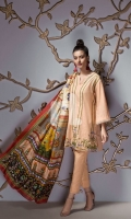 Peach Printed Embroidered Stitched Slub Lawn Shirt & Printed Dupatta - 2PC