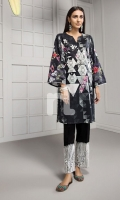 Black Digital Printed Embroidered Stitched Shirt - 1PC