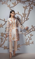 White Digital Printed Embroidered Stitched Lawn Shirt - 1PC