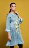 Blue Digital Printed Stitched Lawn Shirt - 1PC