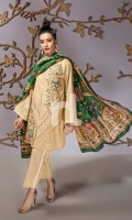 Beige Printed Embroidered Stitched Slub Lawn Shirt & Dupatta - 2PC
