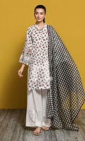 White Printed Embroidered Stitched Slub Lawn Shirt & Voil Dupatta - 2PC