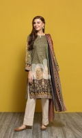 Green Printed Embroidered Stitched Lawn Shirt & Printed Voil Dupatta - 2PC