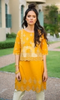 Mustard Dyed Embroidered Stitched Slub Lawn Shirt - 1PC