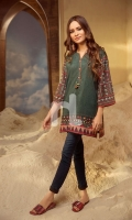 Green Printed Embroidered Stitched Lawn Shirt - 1PC