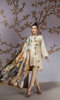 Grey Printed Embroidered Stitched Lawn Shirt & Silk Dupatta - 2PC