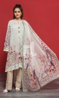 Beige Printed Stitched Lawn Shirt & Printed Voil Dupatta - 2PC